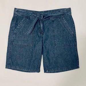 LOFT Denim Bermuda Short w/Front-Tie Denim Belt
